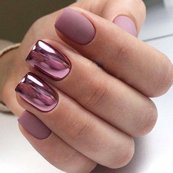 diseños de uñas decoradas para otoño efecto espejo