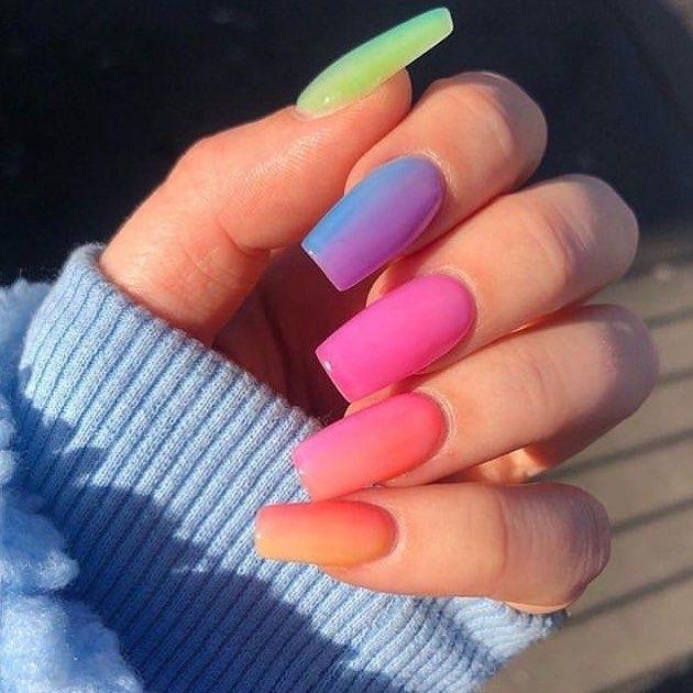 Decorated nail designs - rainbow rainbow nails - perfect nails