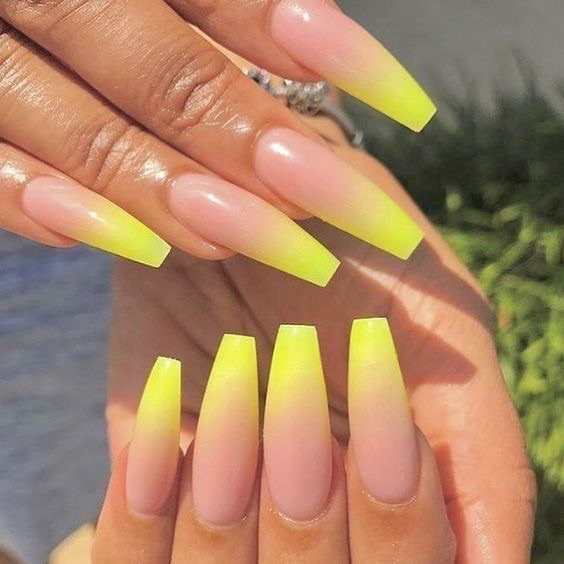 Decorated nail designs - yellow ombré nails - perfect nails
