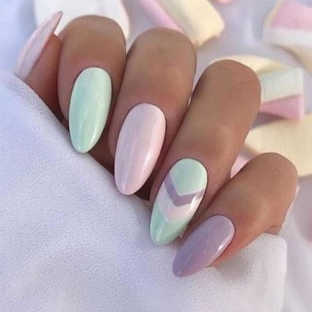 perfect nails - decorated nail designs - long pointed nails pastel colors-
