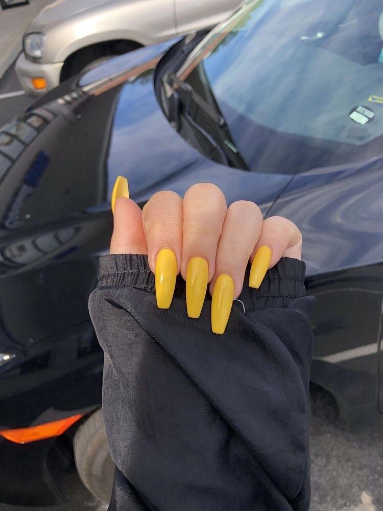 uñas amarillas largas otoño perfect nails - diseños de uñas decoradas
