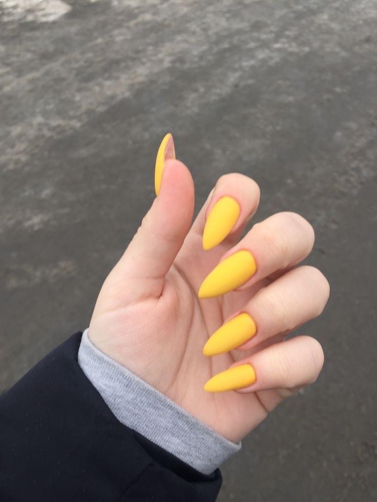 uñas amarillas largas perfect nails - diseños de uñas decoradas