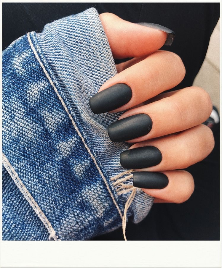 matte black nails - decorated nail designs