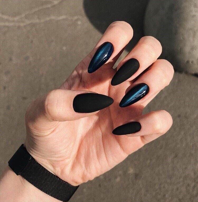 Long black nails - perfect nails - decorated nails - trendy nail designs -