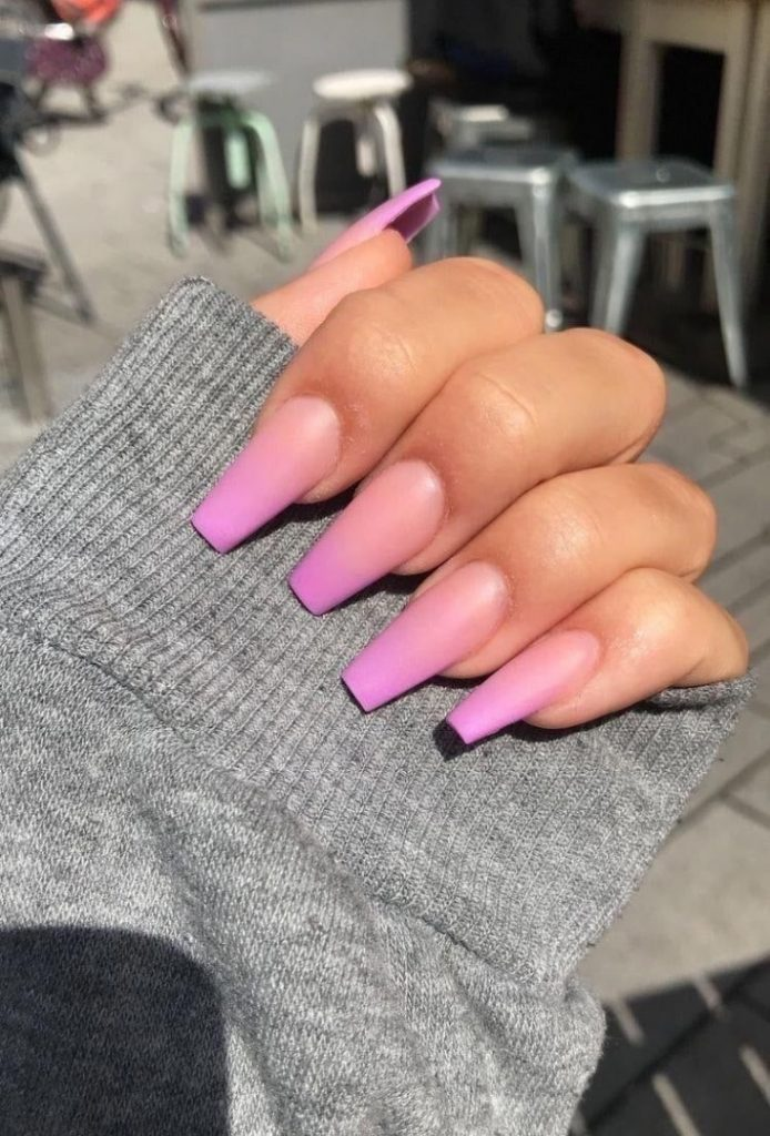 ombré pink nails - long nails - gel decorated nail designs