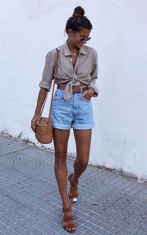pantalones cortos denim- pantalones cortos de verano - outfits para verano - verano short denim - elegantes corte alto