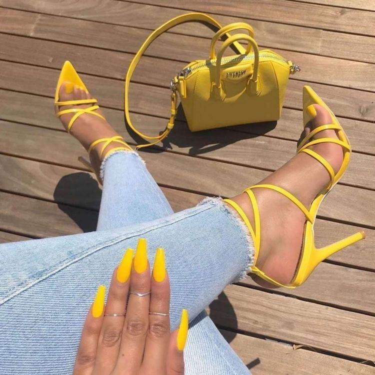 sandalias de verano mujer - moda verano - calzado veraniego- sandalias mujer tacon alto amarillas