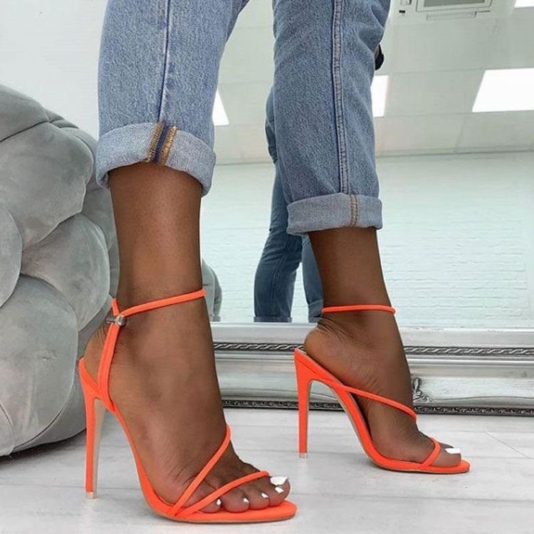 sandalias de verano mujer - moda verano - calzado veraniego- sandalias mujer tacon alto fluorescente