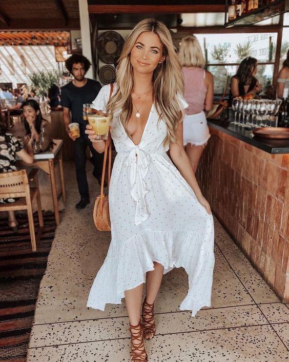 vestido blanco para verano - vestido zara vestido blanco de mujer con lunares