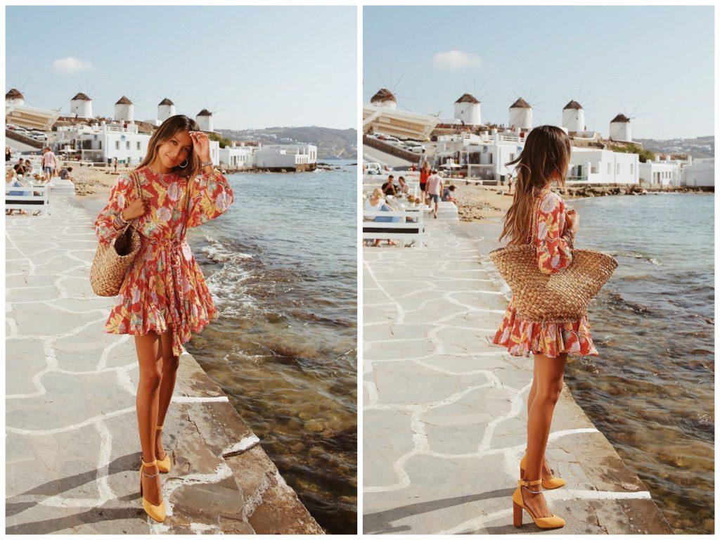 vestido floral naranja, magas largas. 30 Outfits que están en Tendencia - moda verano