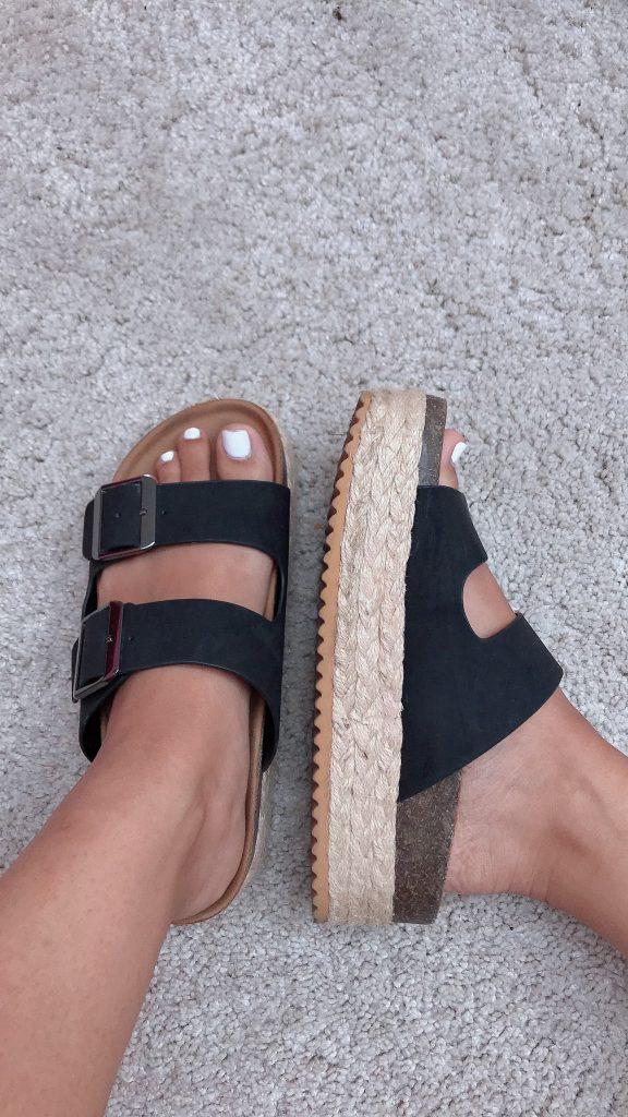 zuecos pull and bear - sandalias de verano negras