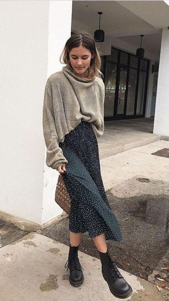 Faldas midi otoño gris