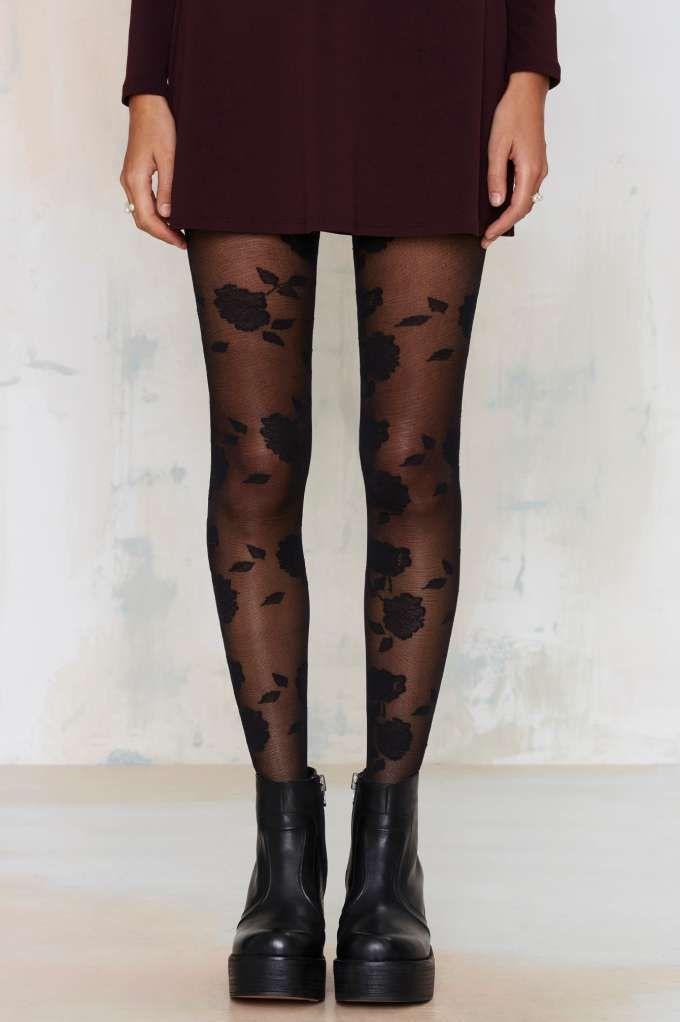 Medias panty con diseño otoño flores