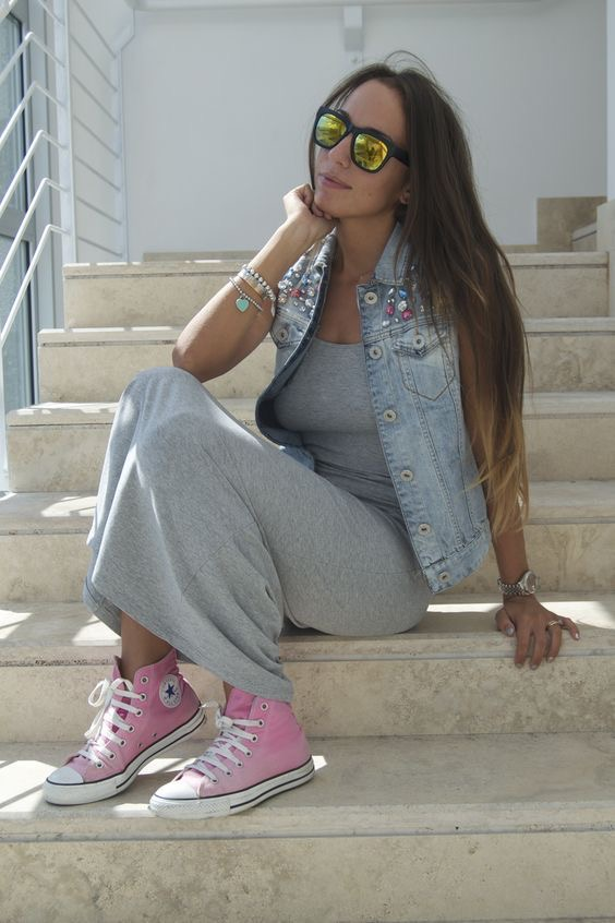 Outfits con converse rosa botines