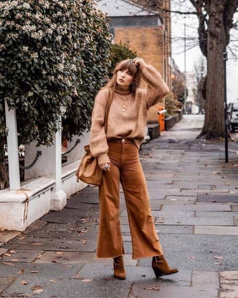 Pantalones anchos otoño - invierno 2019 color tierra