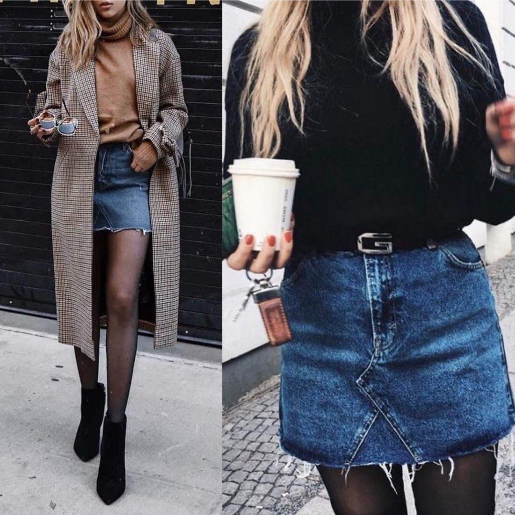 look falda vaquera invierno - outfit denim falda corta - falda vaquera corta invierno - mini falda de jeans invierno