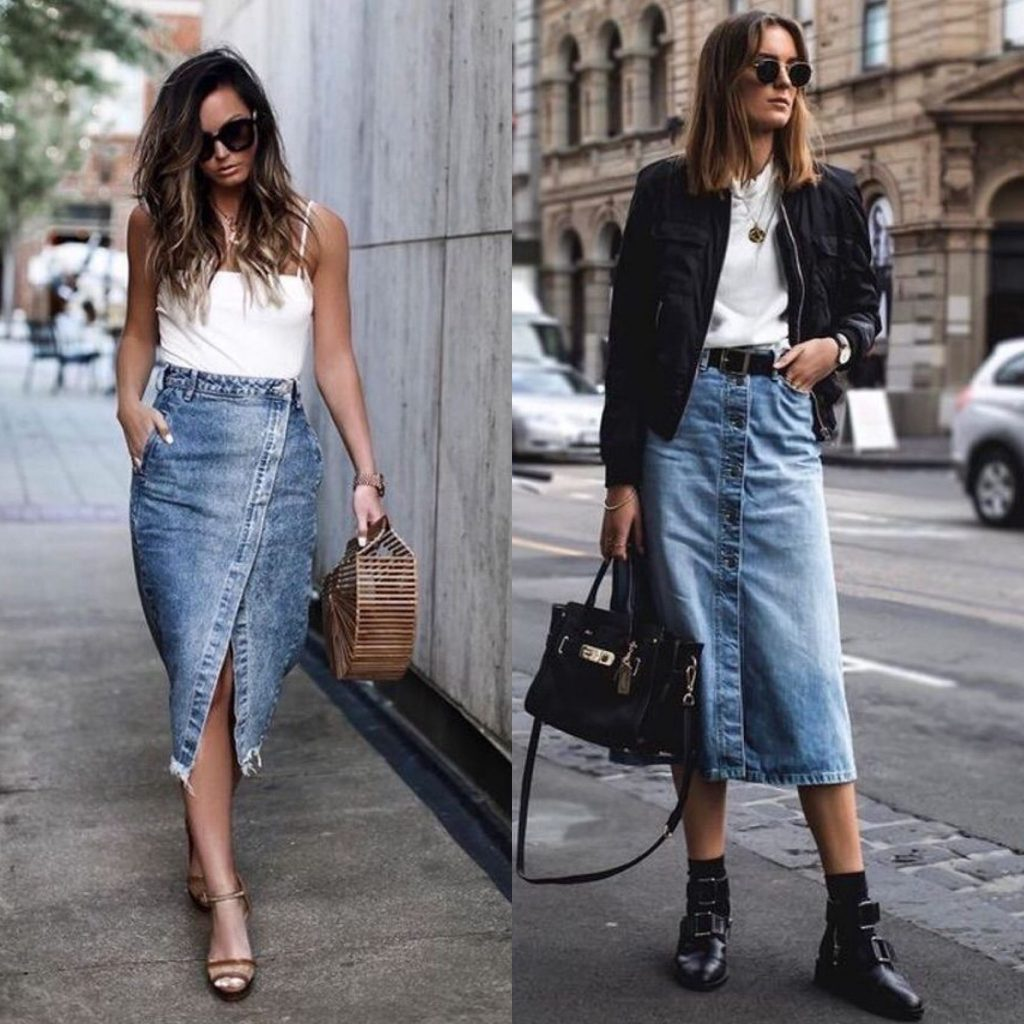 look falda vaquera verano - outfit denim falda midi - falda vaquera midi- midi falda de jeans.
