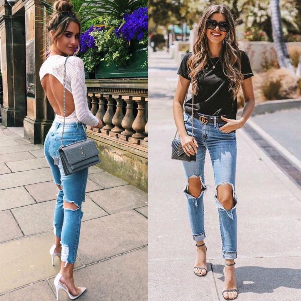 vaqueros rotos - Outfits con vaqueros denim : look con blue jeans que te encantarán