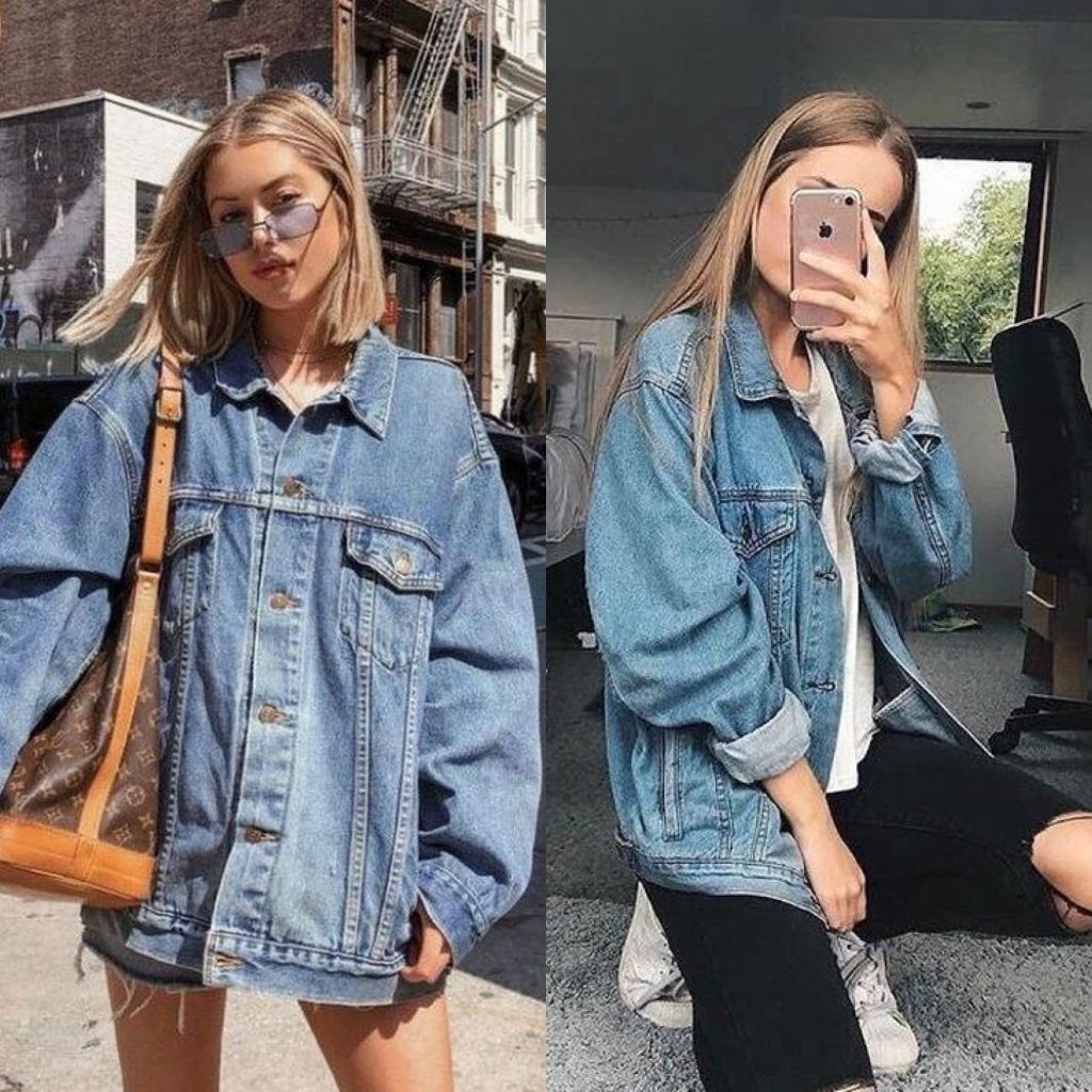 Outfit Denim Jacket : chaqueta denim talla grande