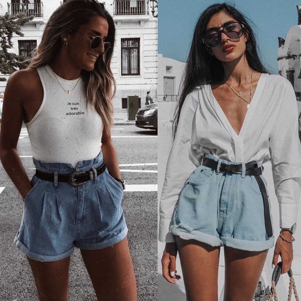 Outfits pantalones cortos altos : outfit denim short