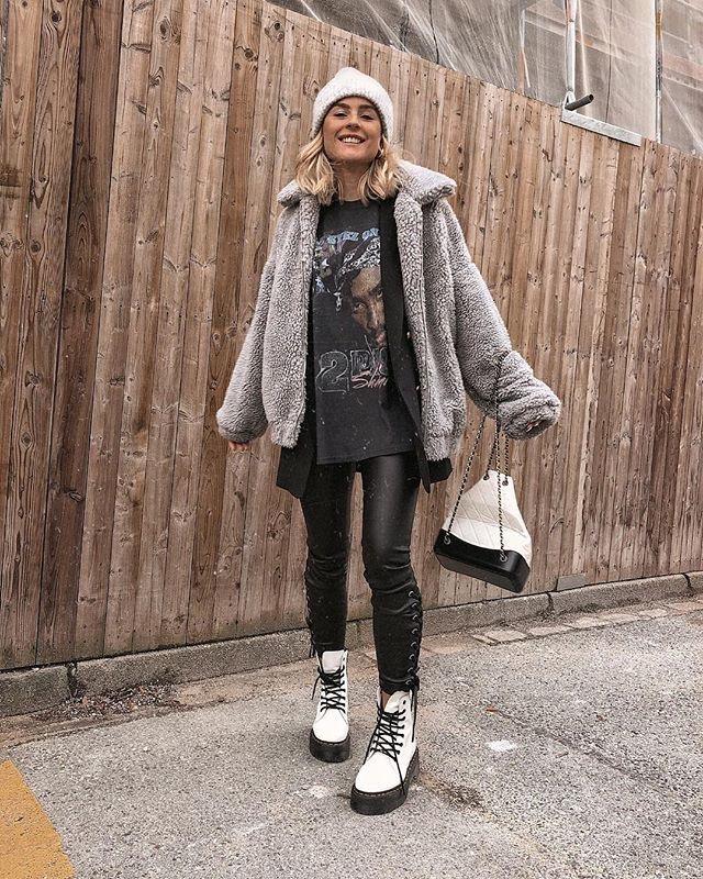 Outfit botas militares para Invierno blancas