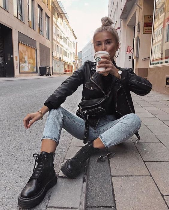 Outfit botas militares para mujer - outfit botas de combate - looks botas dr martens - outif otoño. vaqueros y botas