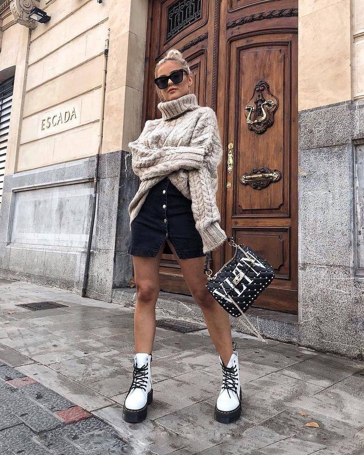 look botas blancas militares - Outfit botas militares para mujer - outfit botas de combate - looks botas dr martens