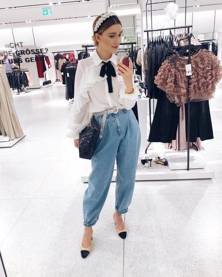 Slouchy jeans outfits chic - Slouchy jeans zara