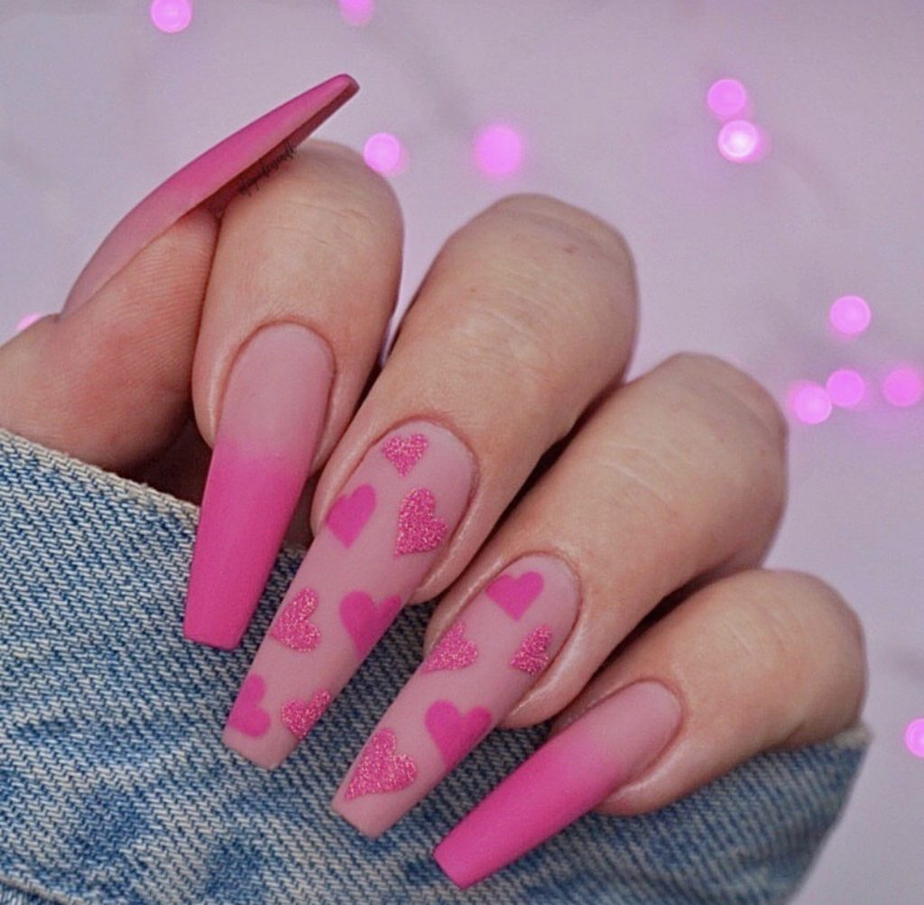 Valentine's Day Nail Designs pink