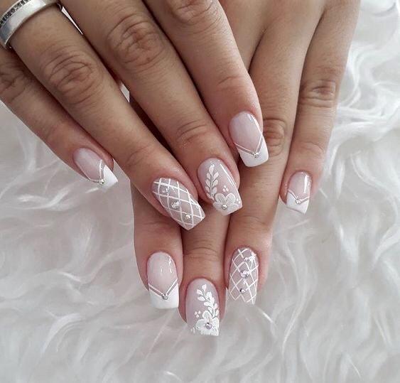diseños de uñas para novias jóvenes blancas