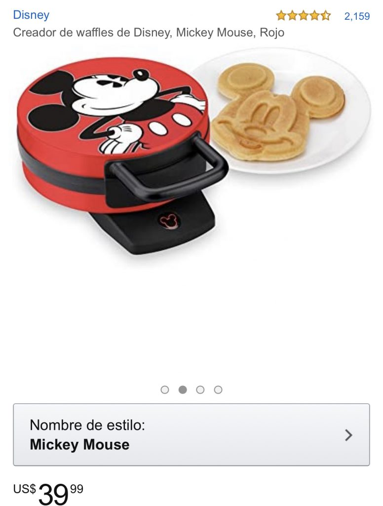Creador-de-waffles-de-Disney-Mickey-Mouse-Rojo