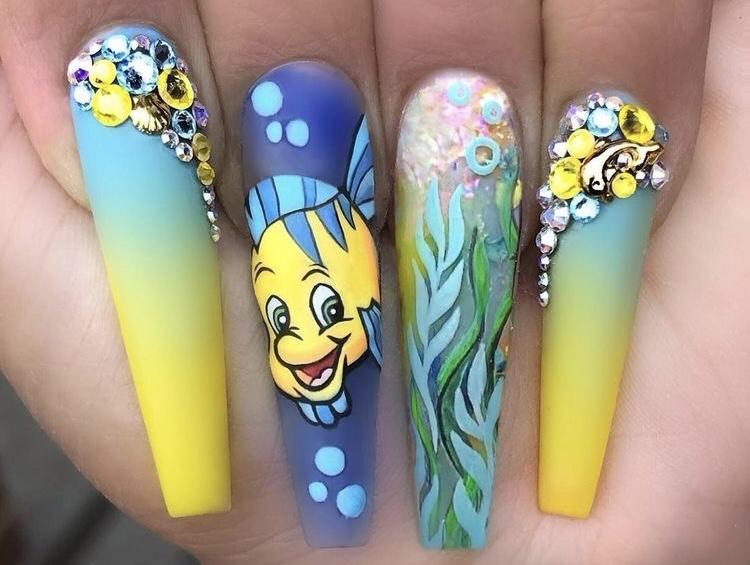 uñas pez flounder - Uñas princesa Disney - uñas Disney navidad - Uñas Disney largas - uñas acrílicas Disney - uñas Minnie - uñas mickey - uñas tusa tusa Disney - uñas princesas Disney