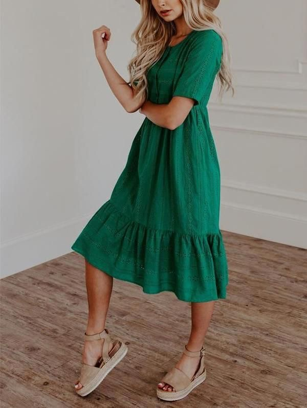 Vestido midi de verano - vestido verde de verano - vestido de tela fresca para el calor